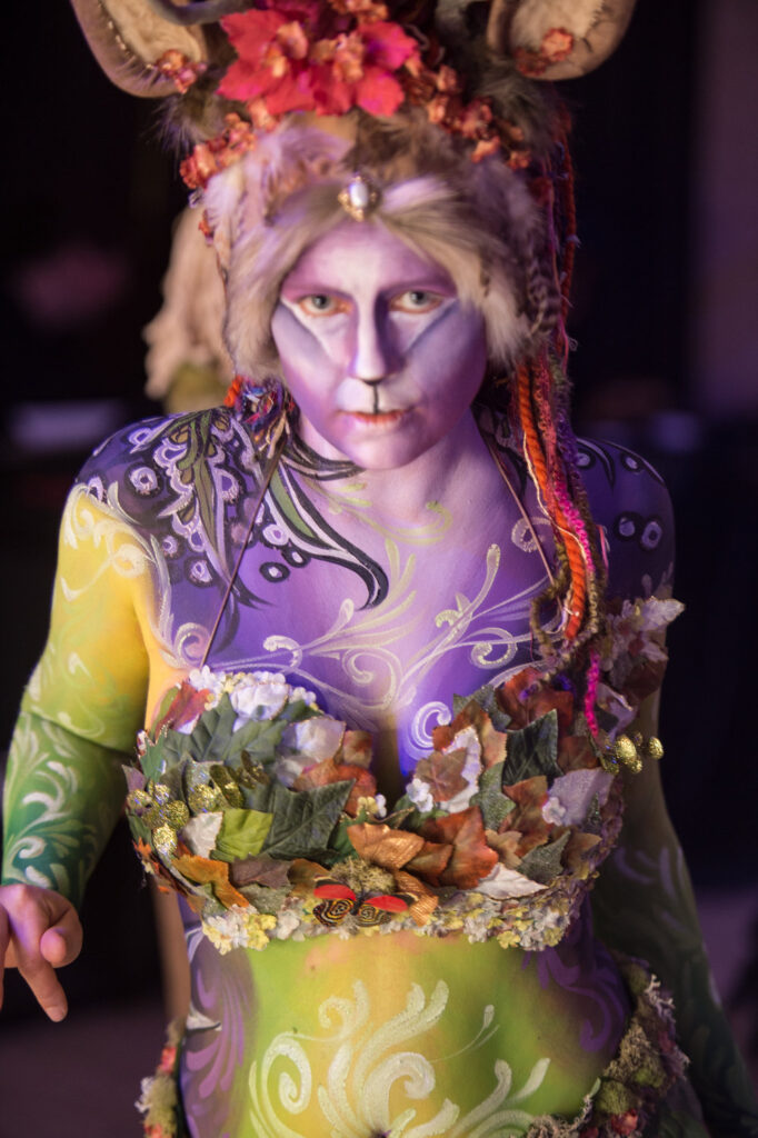 Lady Body Painting To Roar