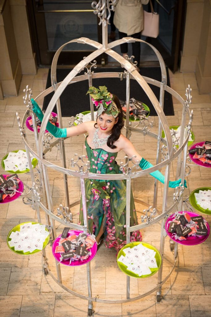 Garden roses circle with girl performance