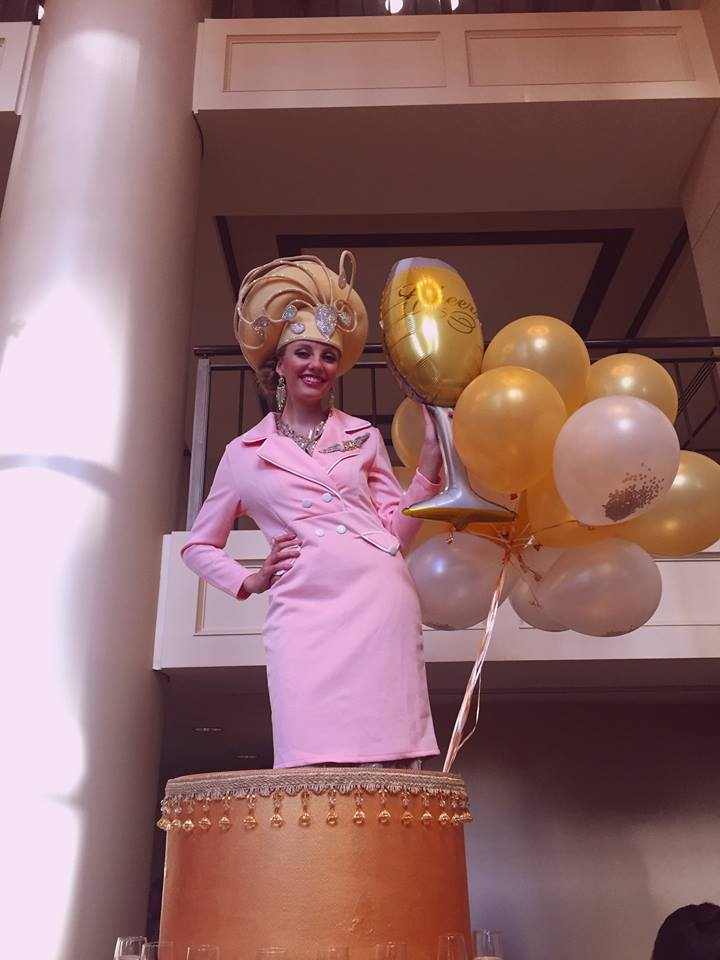 Girl Stand in Cake with Balloons - Spring Event