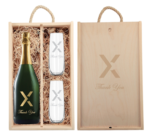 Etched Sparkling Wine with Engraved Stemless Flutes in an Etched Wood Box    $92 - $128+