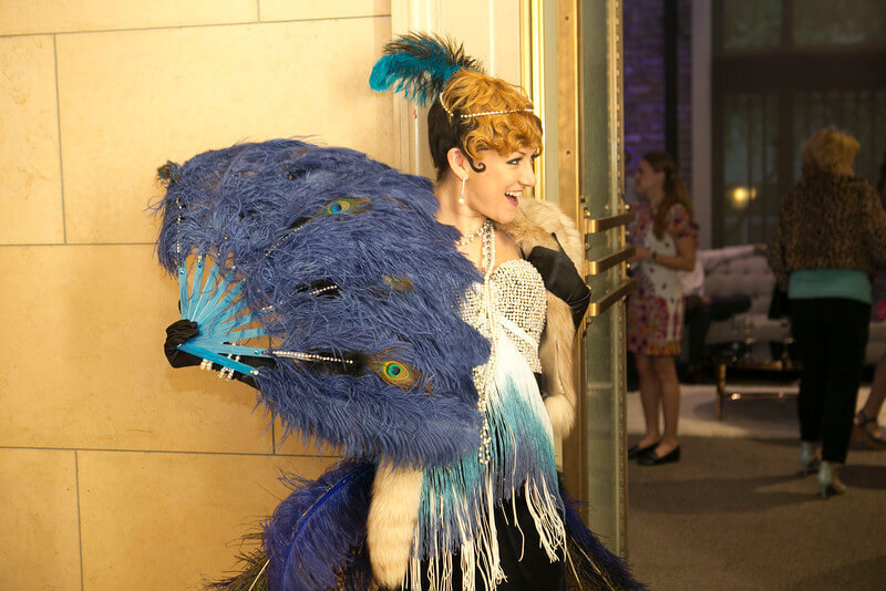 Peacock Fan with Lady Dancer