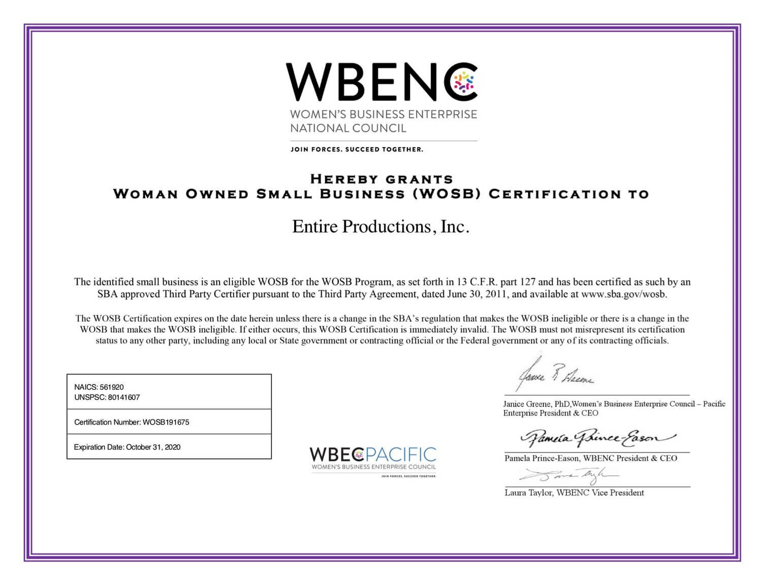 Women Owned Small Business Certificate - Entire Productions, Inc.