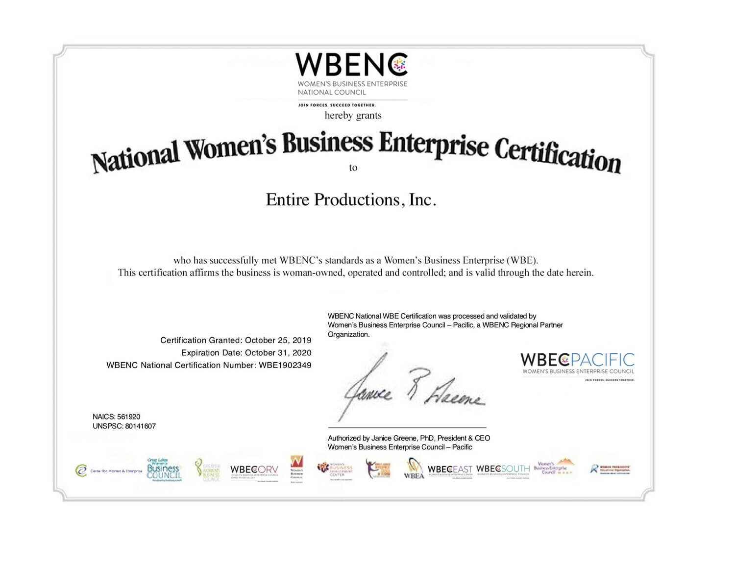 Women Owned Business Certificate - Entire Productions, Inc.
